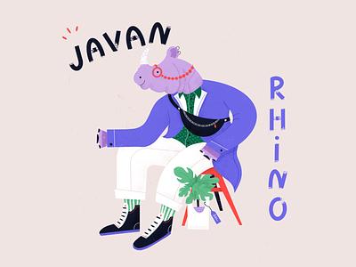 Javan Rhino - Dandy Endangered Species wwf animal rights endangered species character color procreate illustration animals wildlife rhino