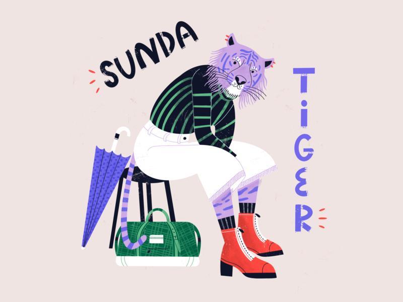 Sunda Tiger - Dandy Endangered Species hipster animals animal endangered species animal rights wildlife tiger character color procreate illustration