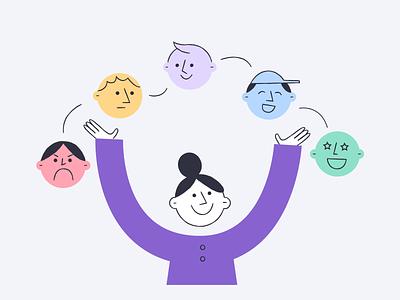 Screeb - Measure Customer Satisfaction character product illustration template csat saas survey feedback emoji satisfaction woman illustrator illustration