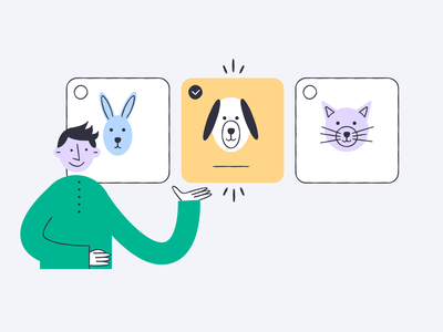 Screeb - Survey options feedback survey choices rabbit cat dog radio button option product illustration illustration
