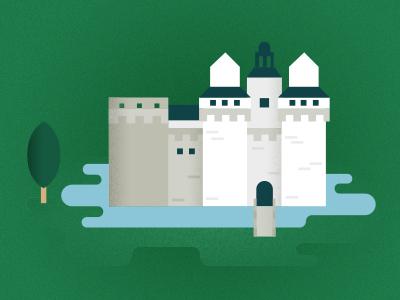 Nantes Castle illustration castle flat city building france