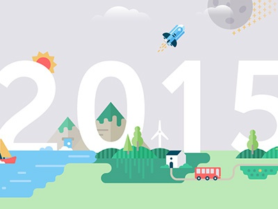 Brave new world 2015 2015 new year illustration map world wind mountain boat spaceship