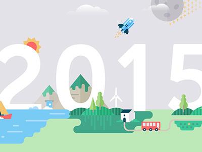 Brave new world 2015 2015 new year illustration map world wind mountain boat spaceship