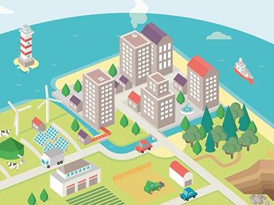 Green City illustration circular economy green city wind farm isometric