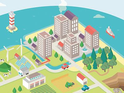Green City illustration circular economy green city wind farm isometric