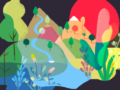 Playing with colors mountains water leaves trees nature illustration color