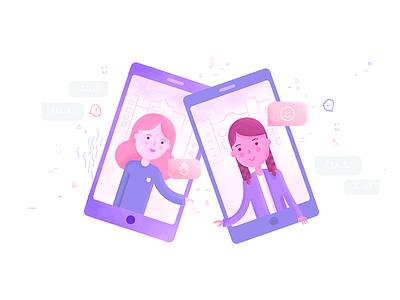 Conversation emoji speak talk messaging smartphone illustration chat conversation