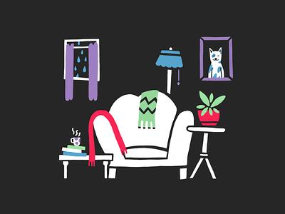 Tranquil — #2 Inktober 2018 home rain sofa tranquil procreate inktober 2018 illustration