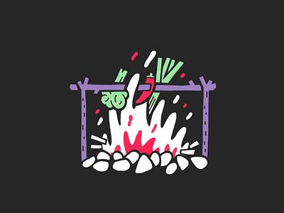 Roasted — #3 Inktober 2018 fire vegetables roasted roast procreate inktober 2018 illustration