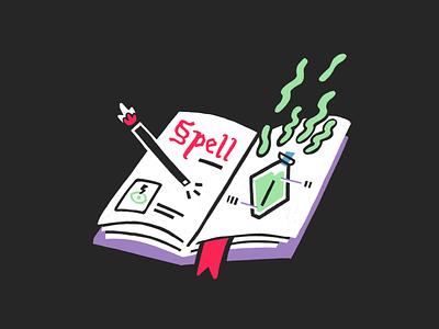 Spell — #4 Inktober 2018 potion magic book spell color illustration inktober 2018