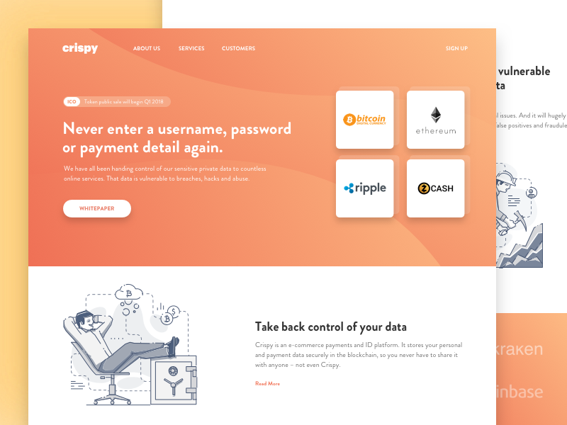 Landing Page for a Cryptocurrency Startup token ergonized web design ui ux ico altcoin ethereum cryptocurrency contribution blockchain bitcoin bitkoin