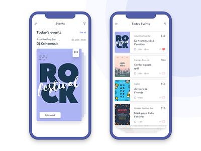 Events App list iphonex presentation mobile app ios design cards events ui ux