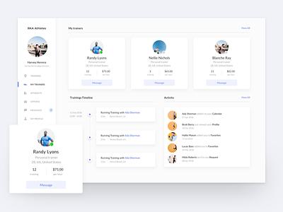 Dashboard UI timeline management user task app web sport trainer dashboard ux ui