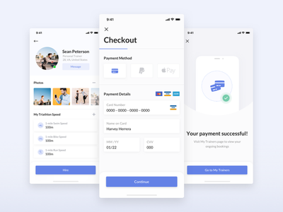 Checkout Flow discover order profile checkout trainers sport layout ui ux ios app mobile