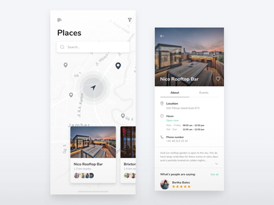 Find great places and events near you mobile user iphone location profile layout events map app ux ui