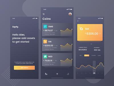 Crypto tracker token statistics dark ux ui app mobile cryptocurrency blockchain crypto wallet bitcoin