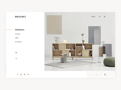 Outline Homepage ui daily design website web hero furniture shop homepage clean ux ui modern minimalistic design ecommerce