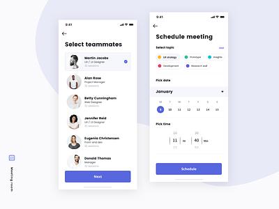 Meetings - App user clean schedule meetings calendar interface mobile ios app ux ui