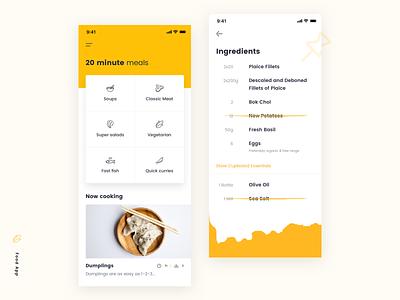 Food App interface ui daily task user profile list food app mobile design ios clean app ux ui