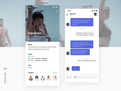 UI Concept gym workout app fitness app message user schedule profile chat design clean ios ux app ui