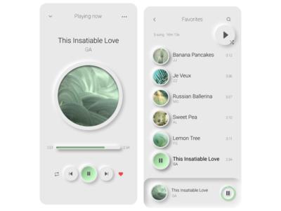 Neuromorphic Mobil Design song app musicapp music minimalist minimal design mobile neuromorphic