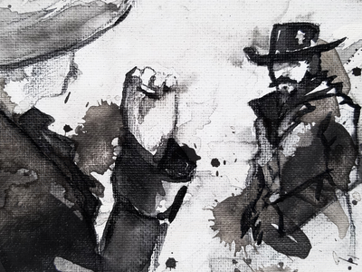 Showdown grunge ink standoff showdown cowboy western