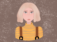 White hair girl with yellow stripe shirt
