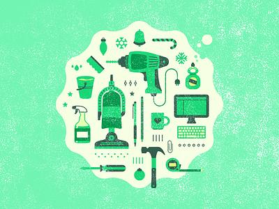 Multitasks sharing economy taskrabbit tasks illustration