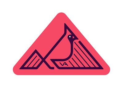 VA dribbbleweeklywarmup map red cardinal bird state sticker va virginia