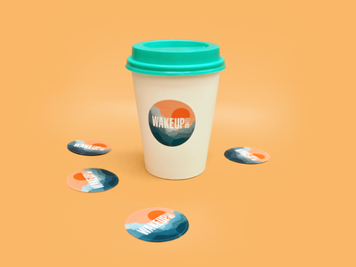 Wake Up Coffee - Сoffee Stickers coffee cup coffee identity illustration dribbble logo