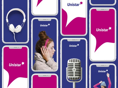 Unistar - Radio Station speech bubble speech bubble star identity branding logotype logo