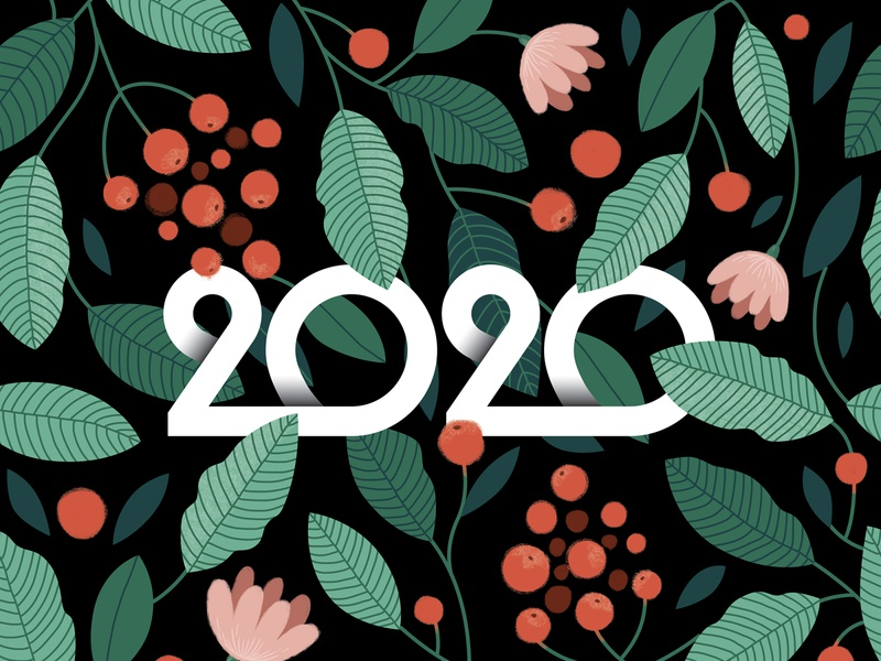 2020 - New Year Card christmas new year 2020 botanic seamless pattern illustration pattern lettering identity branding logotype logo