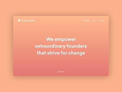 Sunrise Capital Homepage orange brand art homepage design homepage design