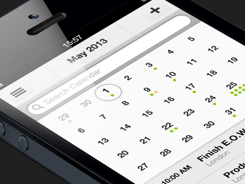 Calendar preview ios ui app user calendar preview