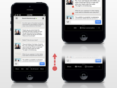 Gchat - Edit mode in a conversation gchat gtalk google chat google talk ios concept app