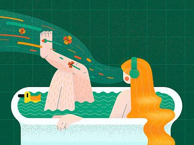 International Women's Day iwd flowers bath music women womens day flat character vector illustration