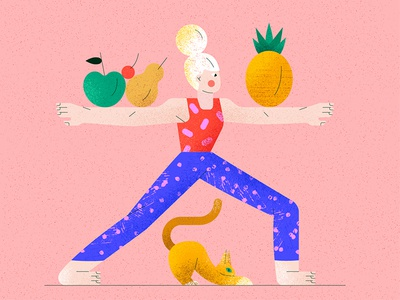Yoga at home stayhome women yoga food cat animal character vector illustration