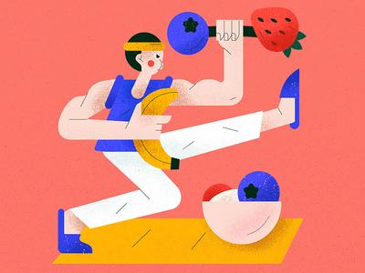 Training isolation stayhome men banana berry food training flat character vector illustration