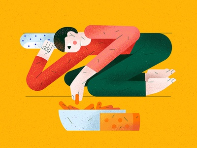 30 days at home flat vector men stayhome cheese character illustration