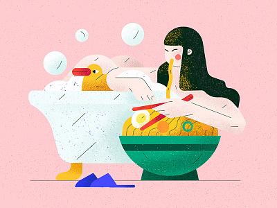 Wok food woman bath stayhome wok duck flat character vector illustration