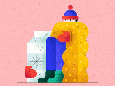 Freeze fun stayhome fashion milk cold freeze flat character vector illustration