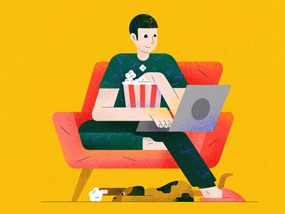 Popcorn home digital work stayhome popcorn dog flat character vector illustration