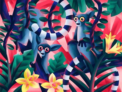 Lemurs digital jungle red lemur animal flower plant flat vector illustration