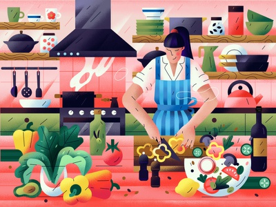 Сooking food tomato wine woman lemon avocado vegetable cooking kitchen salad chef cook character vector illustration