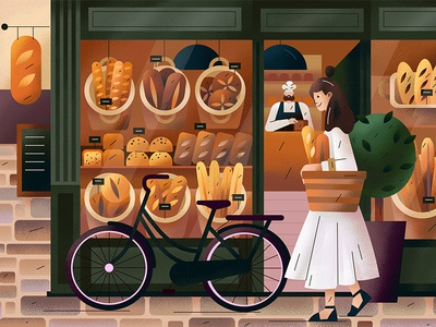Bakery france europe flat bicycle pine bread bakery character vector illustration