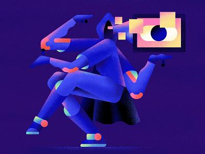Techno shiva digital pixel eye laptop flat technology shiva techno character vector illustration