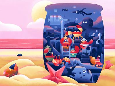 The barrel sun book fish octopus beach crabs sea animal plant flat character vector illustration