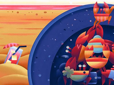 The Barrel fish beach crab cocktail sea animal flat vector character illustration