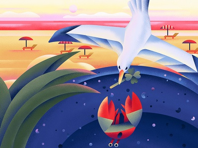 Gull crab texture beach book gull bird sea animal plant flat character vector illustration