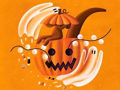 Australian halloween pumpkin ghost kangaroo australia halloween animal flat vector illustration